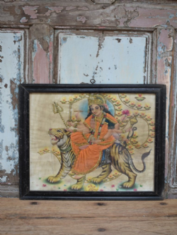 Vintage Print of the Goddess Durga with Tiger
